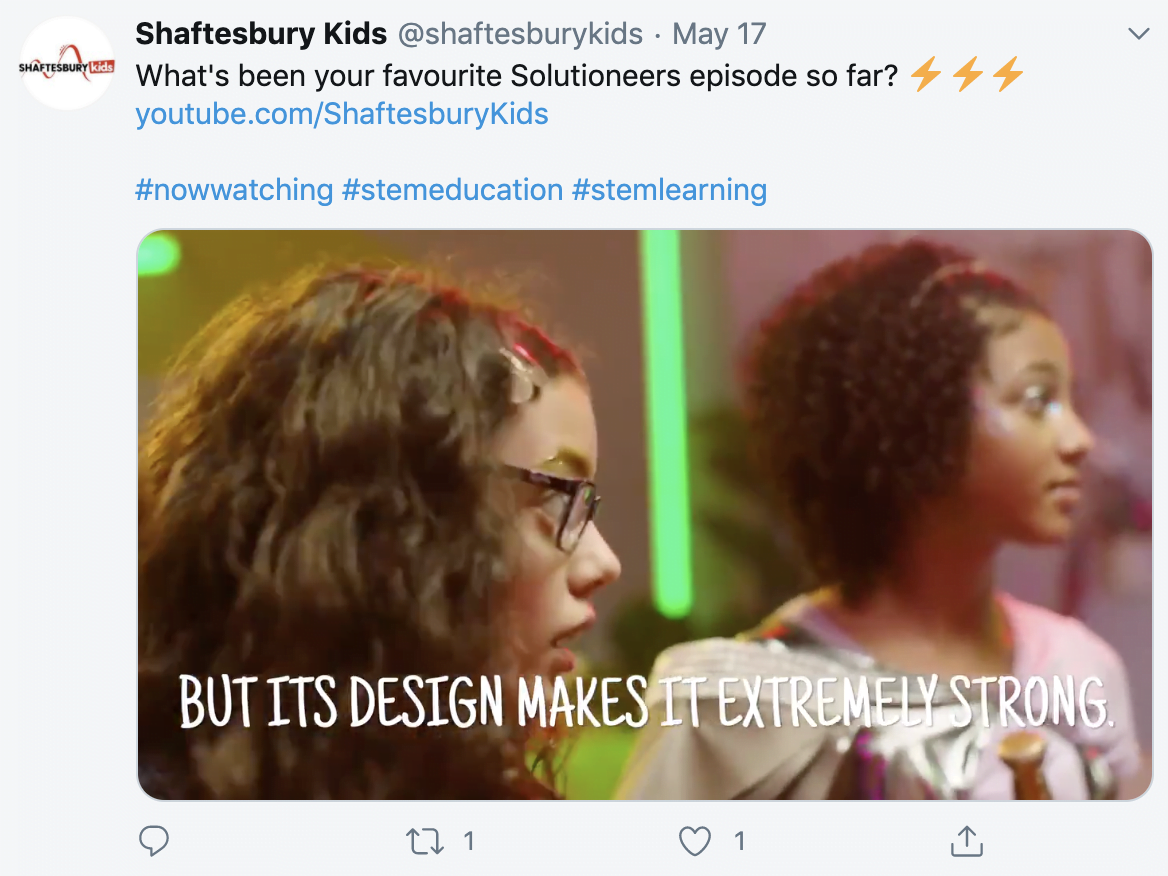 Solutioneers GIF on the Shaftesbury Kids Twitter account