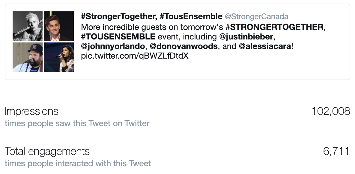 IMAGE: a tweet from STRONGER TOGETHER, TOUS ENSEMBLE featuring Justin Bieber, Johnny Orlando, Donovan Woods and Alessia Cara.