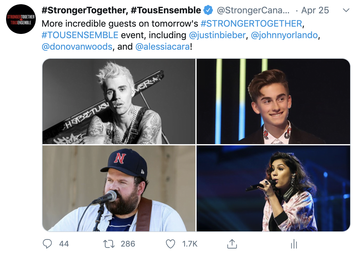 IMAGE: a tweet from @StrongerCanada featuring images of Justin Bieber, Johnny Orlando, Donovan Woods and Alessia Cara. All Images from Getty Images.