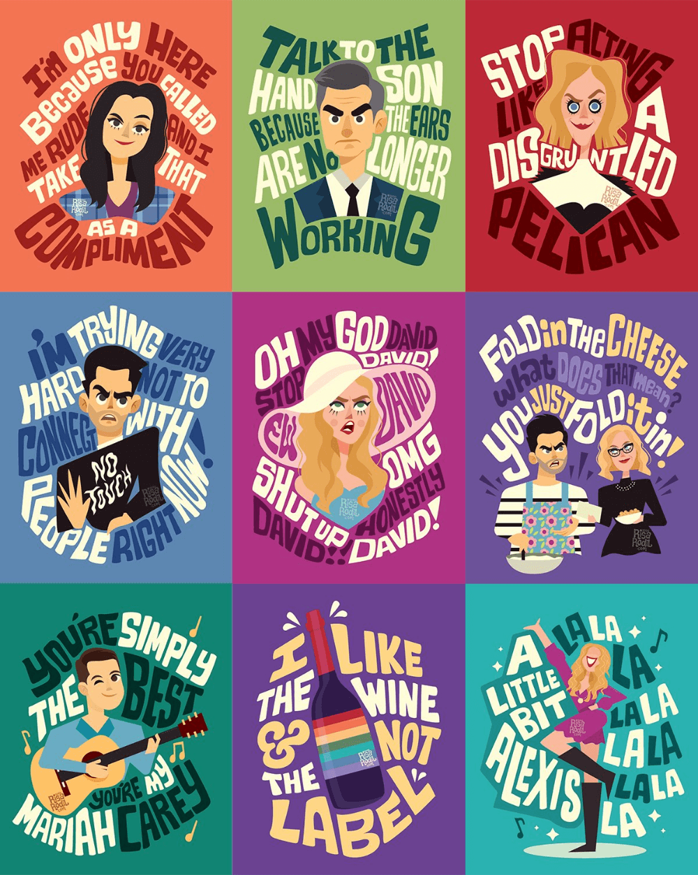 A collection of Schitt's Creek fan art - colourful caricatures of characters from the series with memorable quotes including 'Ew, David' and 'A little bit Alexis'..
