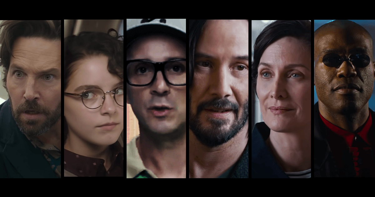 Six actors and characters we've seen on our screens recently as we anticipate a wave of nostalgia in the winter of 2021. From left, a bearded Paul Rudd in Ghostbusters: Afterlife, Mckenna Grace is the obvious grandchild of Harold Ramis' Egon Spengler in Ghostbusters: Afterlife, Steve Burns delivered a long-awaited personal message to the now-grown-up Blues Clues audience; Keanu Reeves definitely has a John Wick vibe in the new trailer for The Matrix: Resurrections, Carrie Ann Moss returns as Trinity (or does she?) and Yahya Abdul-Mateen II is Morpheus now?